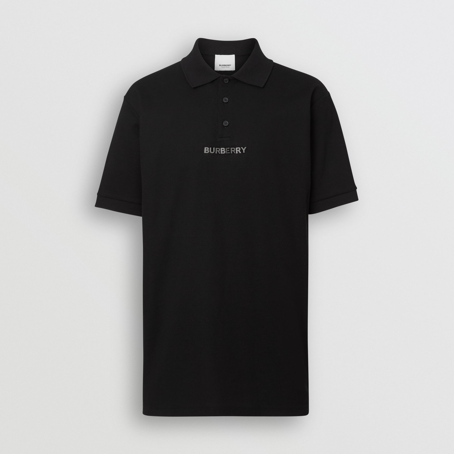 Embellished Logo Polo Shirt in Black - Men | Burberry - gallery image 3