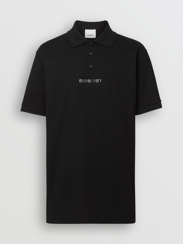 Embellished Logo Polo Shirt in Black - Men | Burberry Singapore - cell image 3