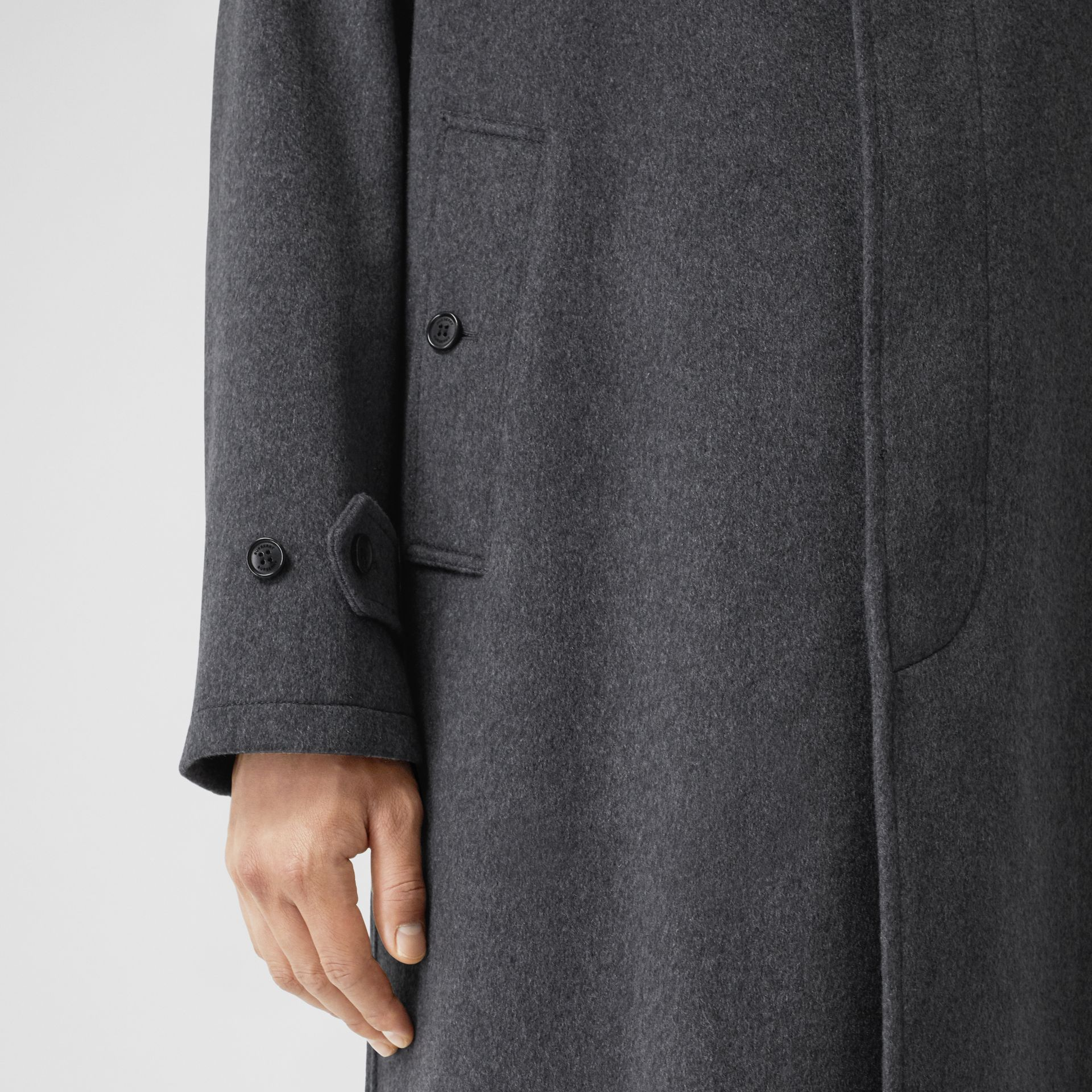 Cashmere Car Coat in Pewter Melange - Men | Burberry Hong Kong S.A.R - gallery image 4