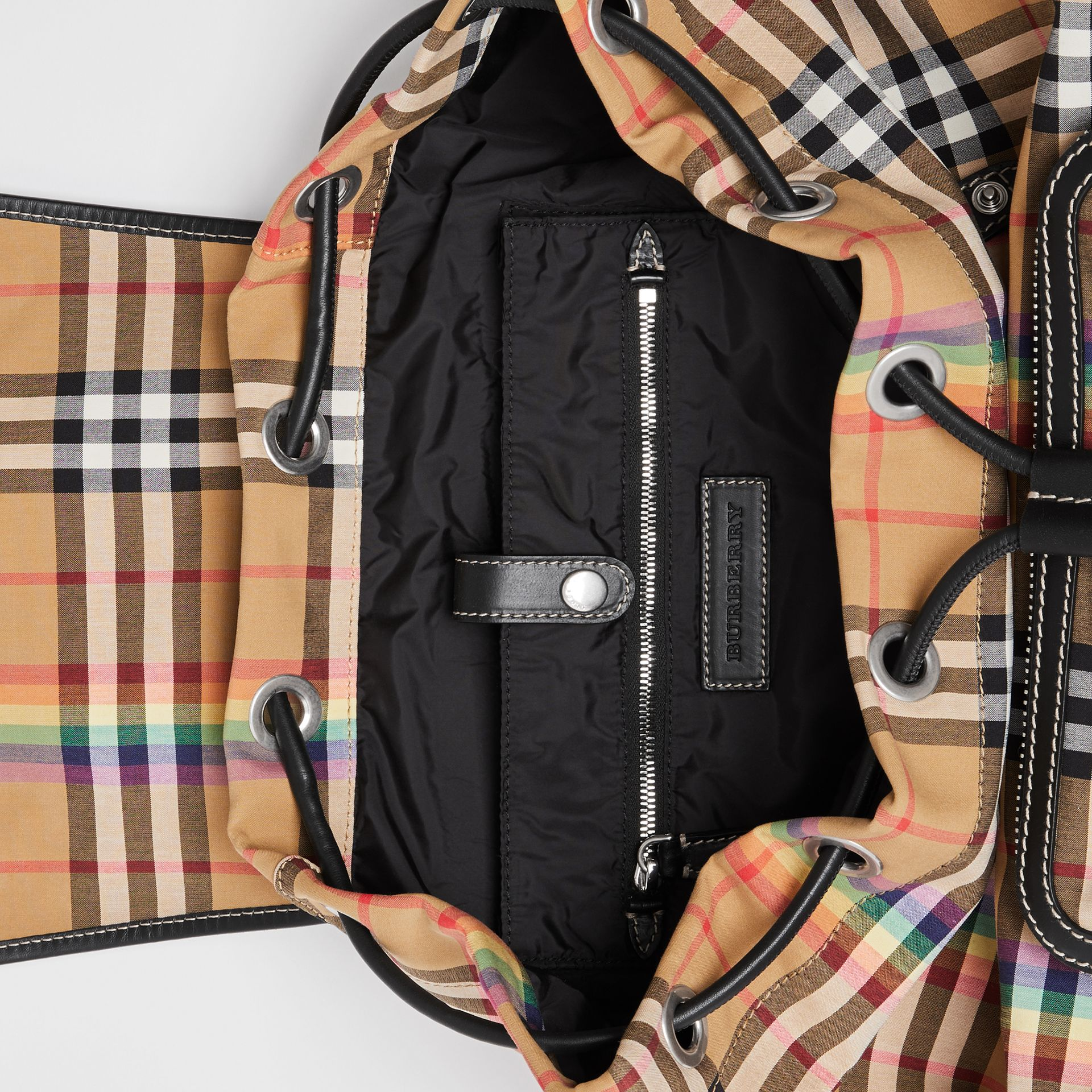 The Large Rucksack in Rainbow Vintage Check in Antique Yellow | Burberry - gallery image 7