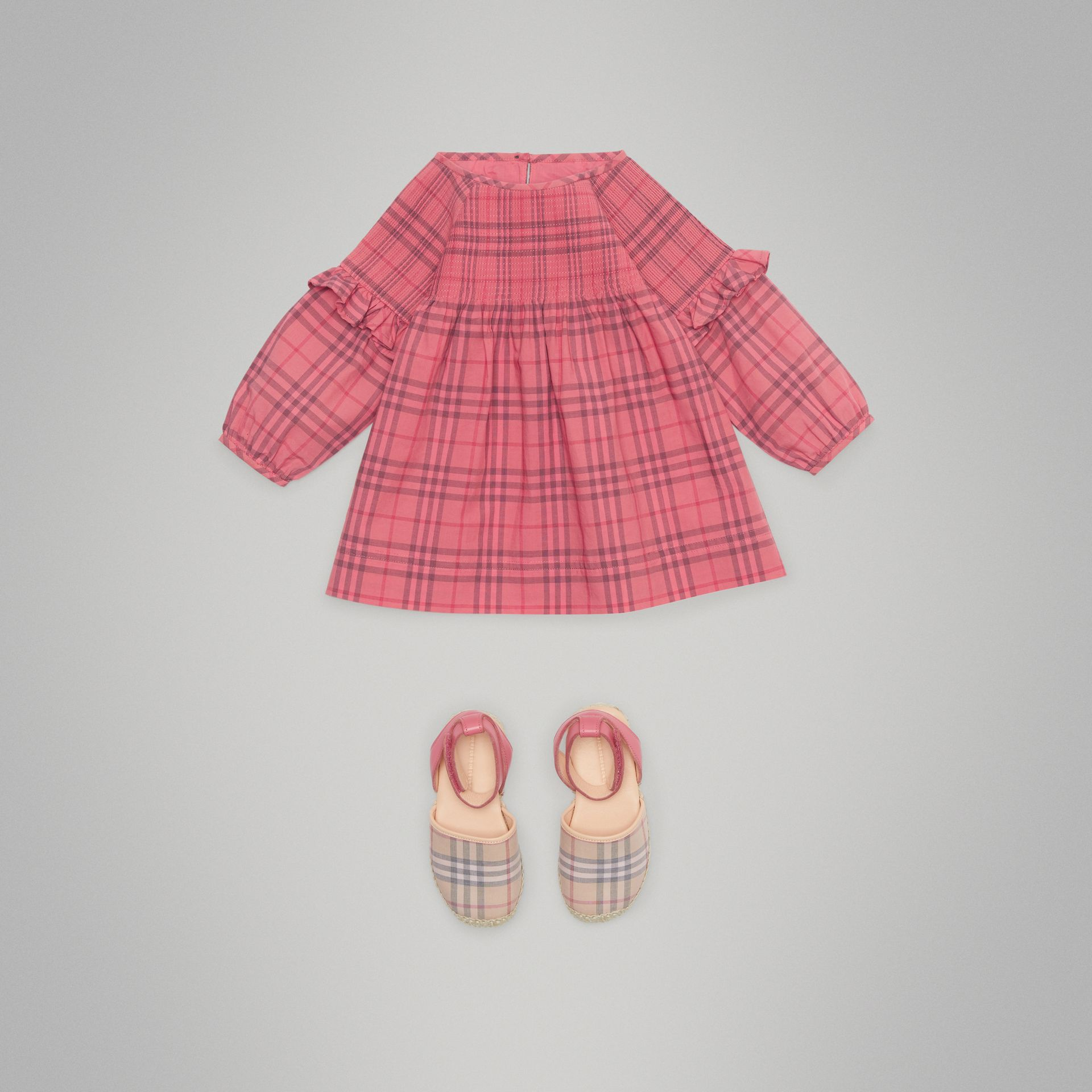 Ruffle Detail Check Cotton Dress in Coral Red - Children | Burberry Hong Kong - gallery image 2