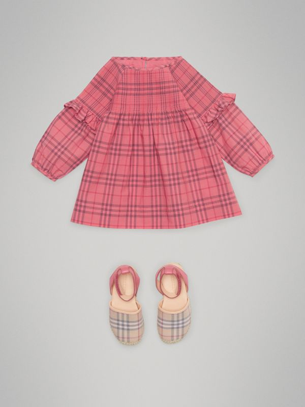 Ruffle Detail Check Cotton Dress in Coral Red - Children | Burberry - cell image 2