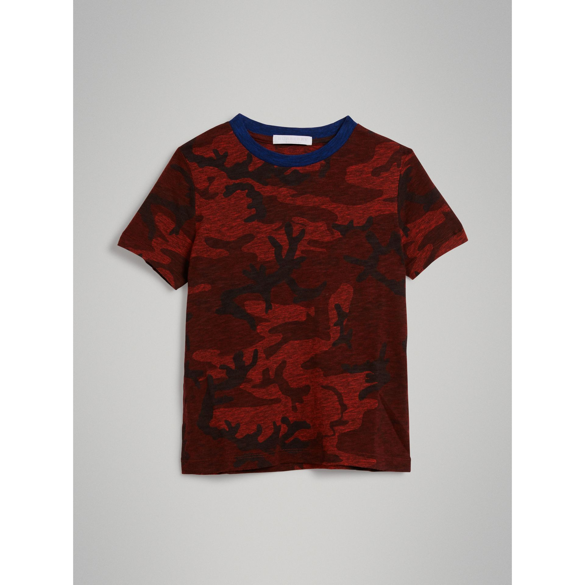 Camouflage Print Jersey T-shirt in Red | Burberry - gallery image 0