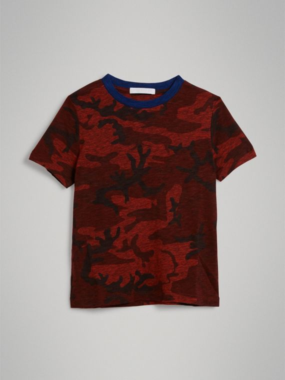 Camouflage Print Jersey T-shirt in Red