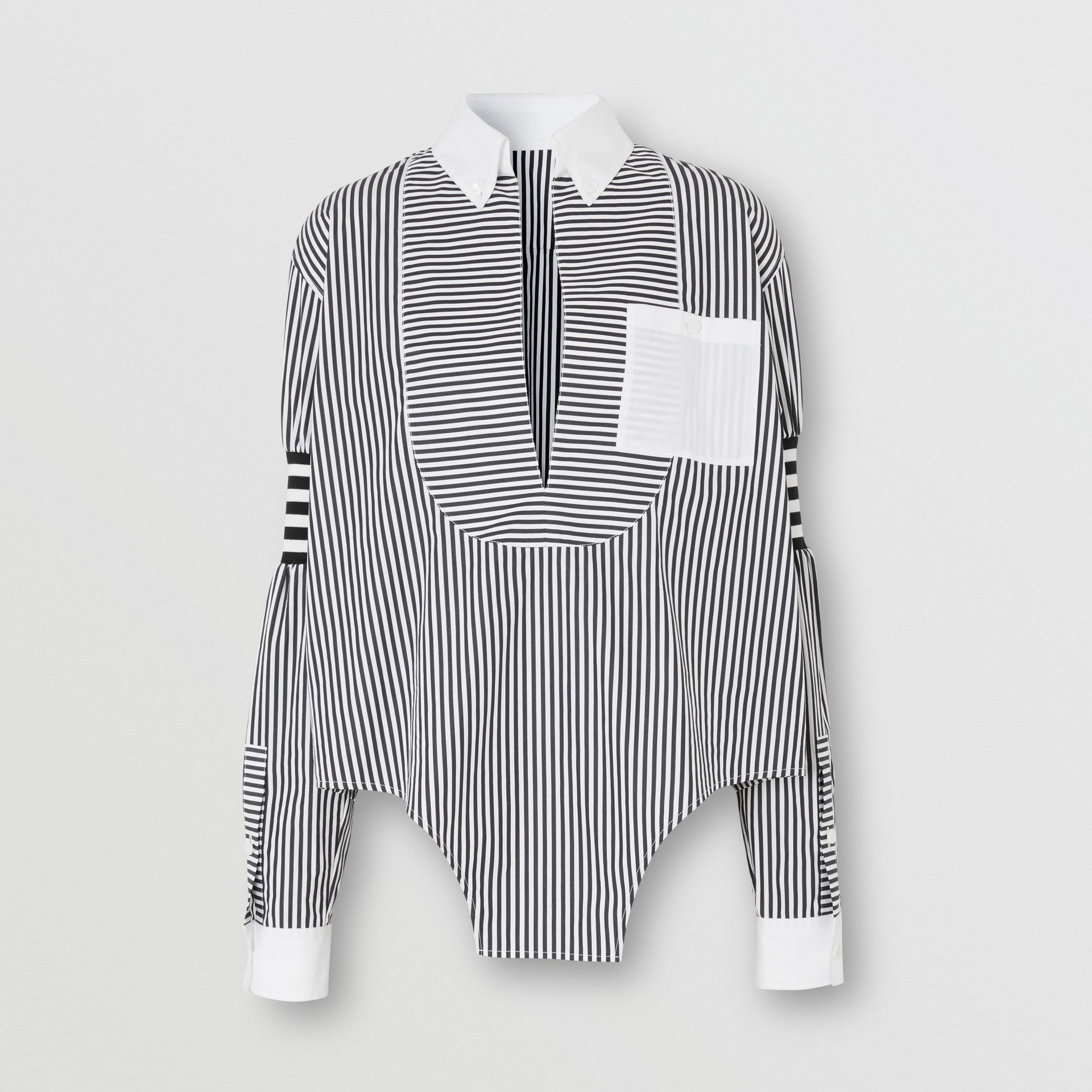 Cut-out Hem Striped Cotton Poplin Shirt in Black - Women | Burberry - gallery image 3