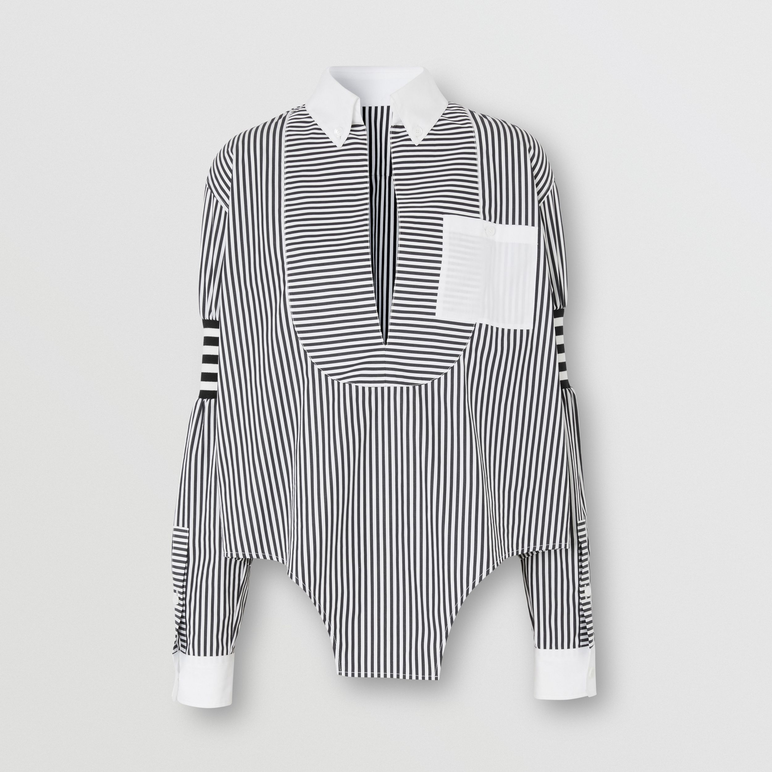 Cut-out Hem Striped Cotton Poplin Shirt in Black - Women | Burberry - 4