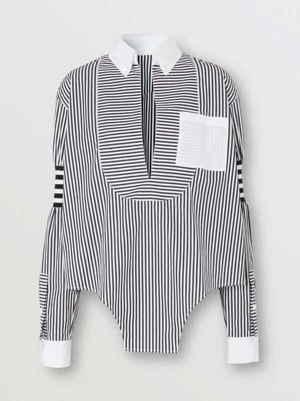 Cut-out Hem Striped Cotton Poplin Shirt in Black - Women | Burberry United Kingdom - cell image 3