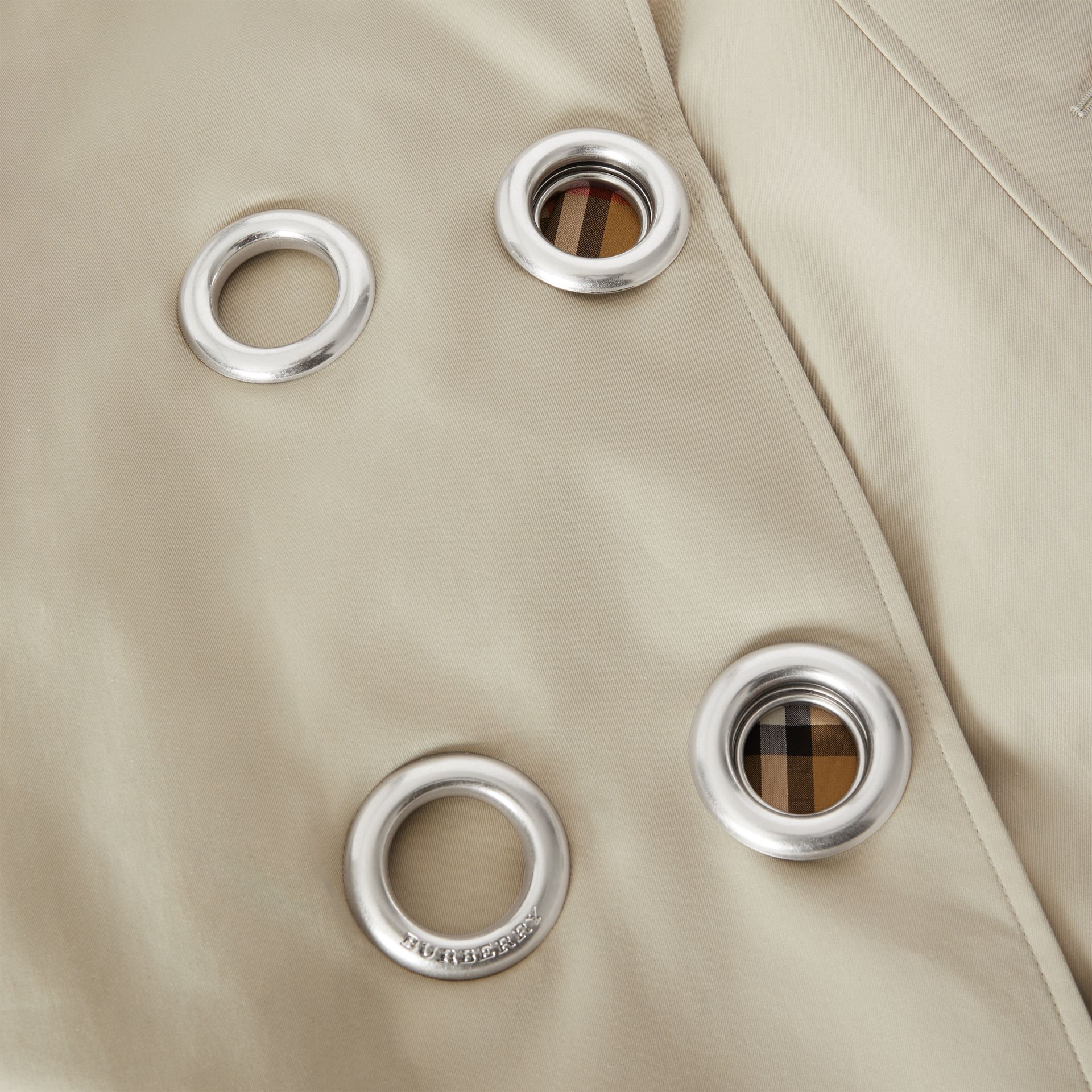 Grommet Detail Cotton Gabardine Trench Coat in Stone - Women | Burberry - gallery image 6