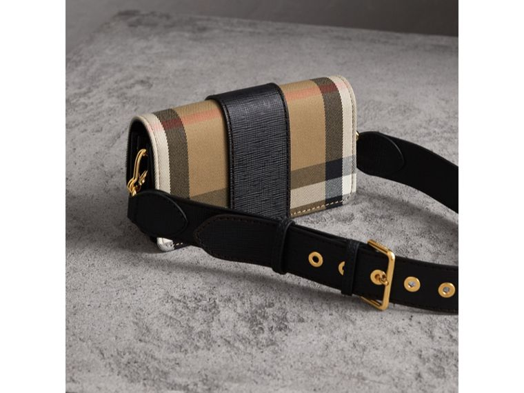 Petit sac The Buckle en coton House check et cuir (Noir) - Femme | Burberry - cell image 4