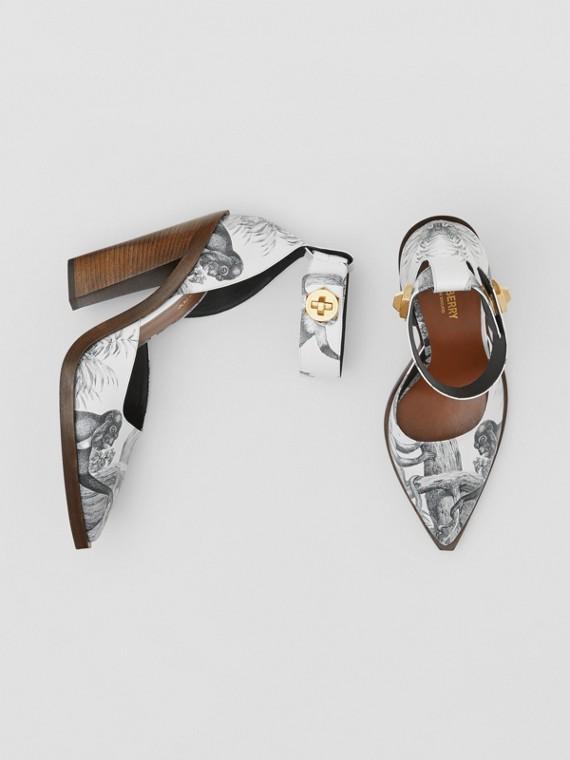 Zapatos de salón en piel con estampado de monos y puntera en pico (Negro/blanco)