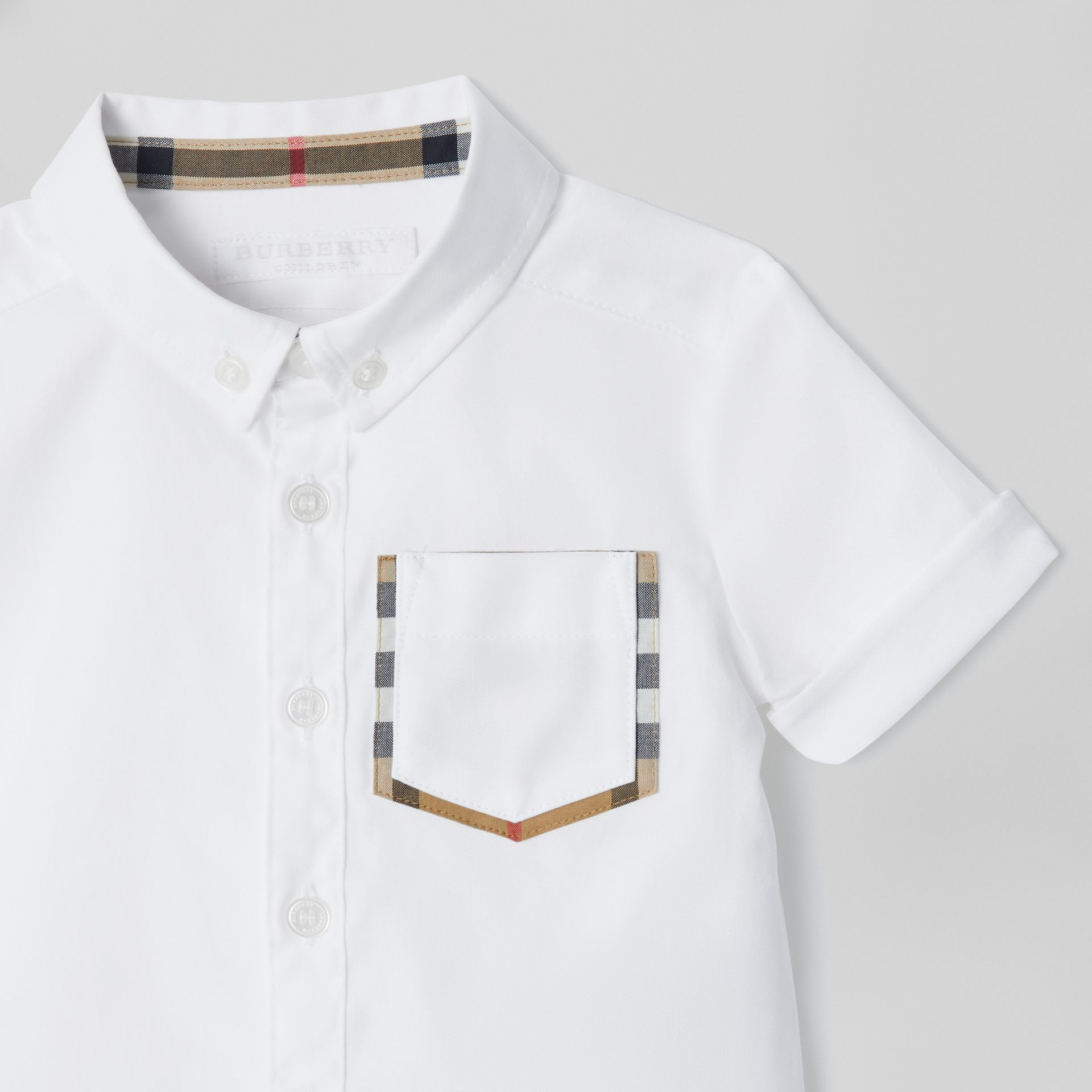 Short-sleeve Check Detail Cotton Oxford Shirt in White - Children | Burberry United Kingdom - gallery image 4