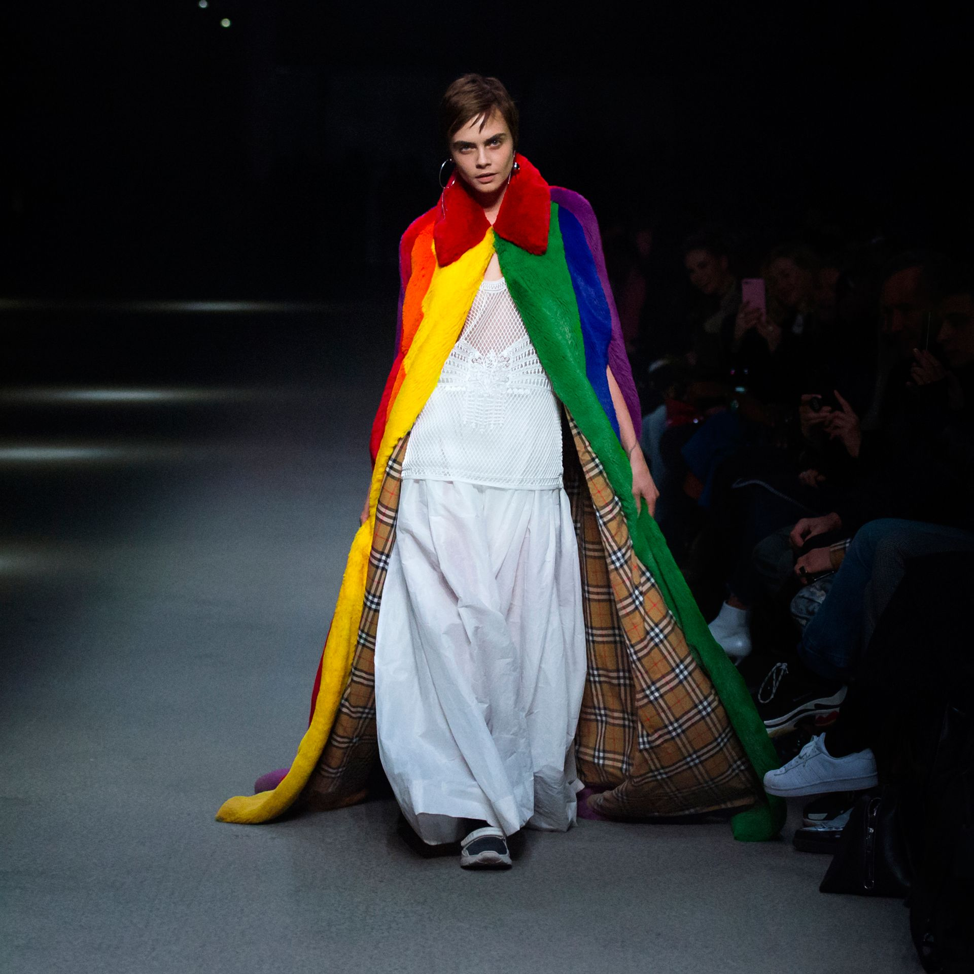 Rainbow Faux Fur Cape - Women | Burberry - gallery image 6