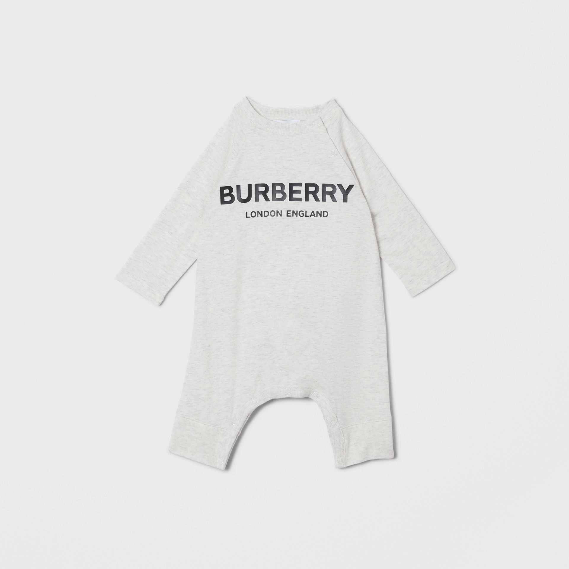 Logo Print Cotton Three-piece Baby Gift Set in White Melange - Children | Burberry - gallery image 1