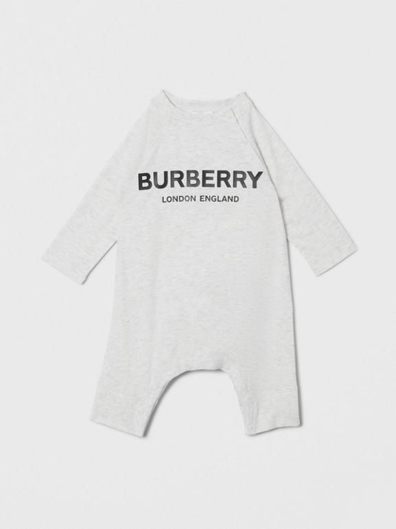 Logo Print Cotton Three-piece Baby Gift Set in White Melange - Children | Burberry - cell image 1