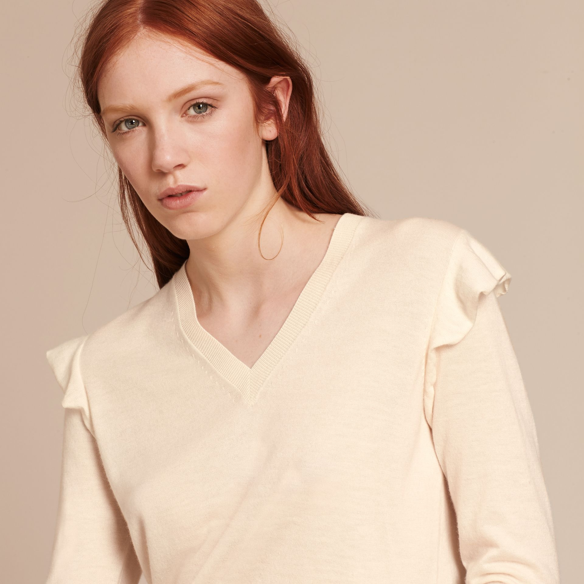 Cashmere Sweater with Frill Sleeves Natural White - gallery image 5
