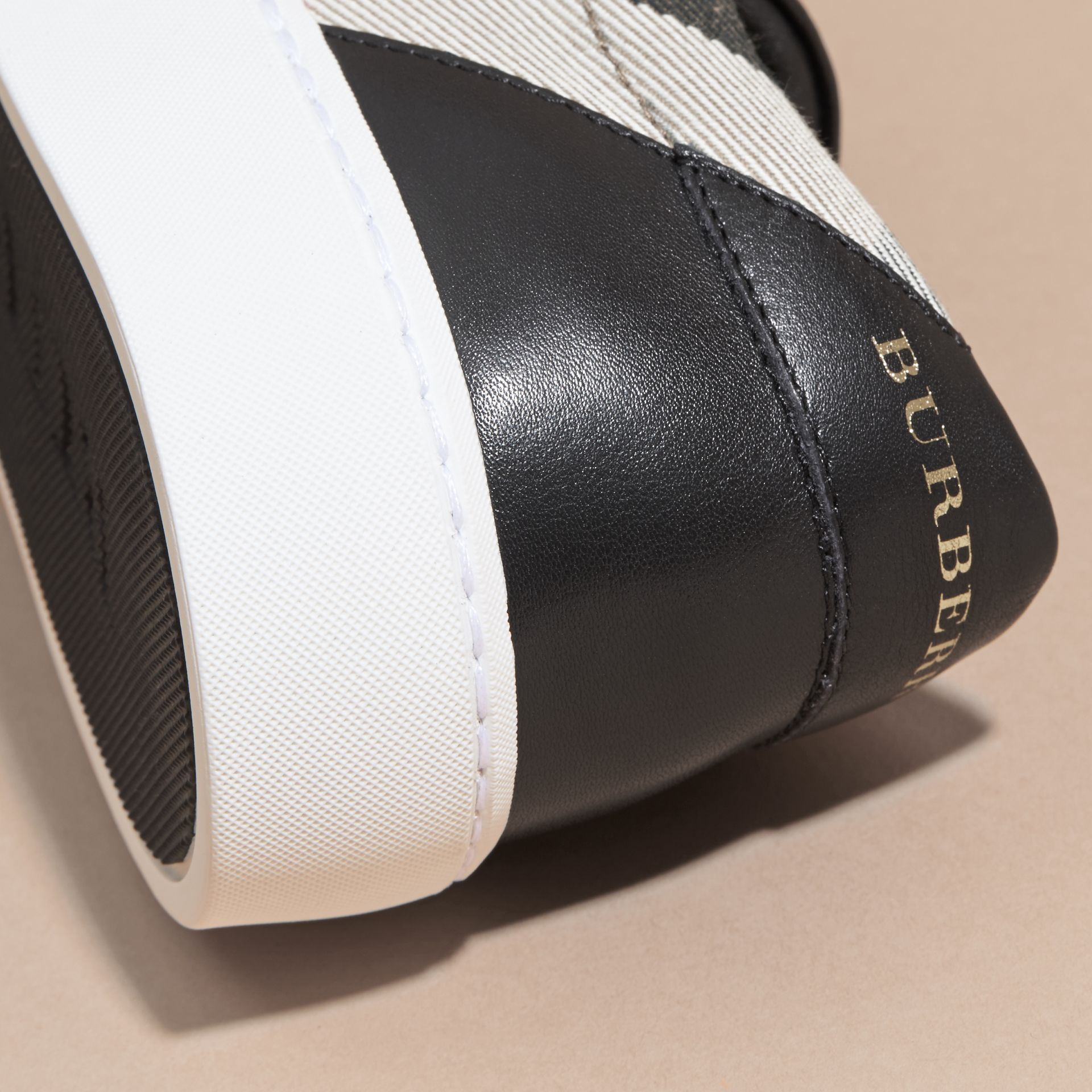 Check Detail Leather Trainers in House Check/black - Women | Burberry Canada - gallery image 2