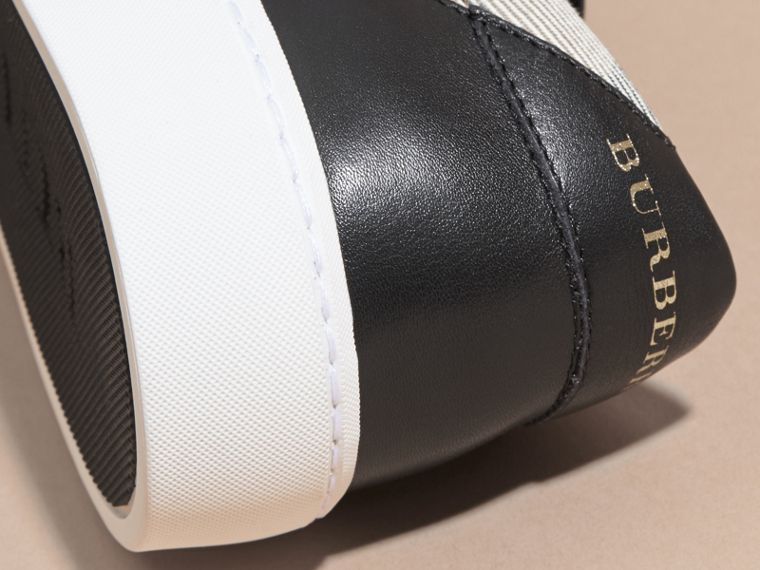 Check Detail Leather Trainers in House Check/black - Women | Burberry Canada - cell image 1
