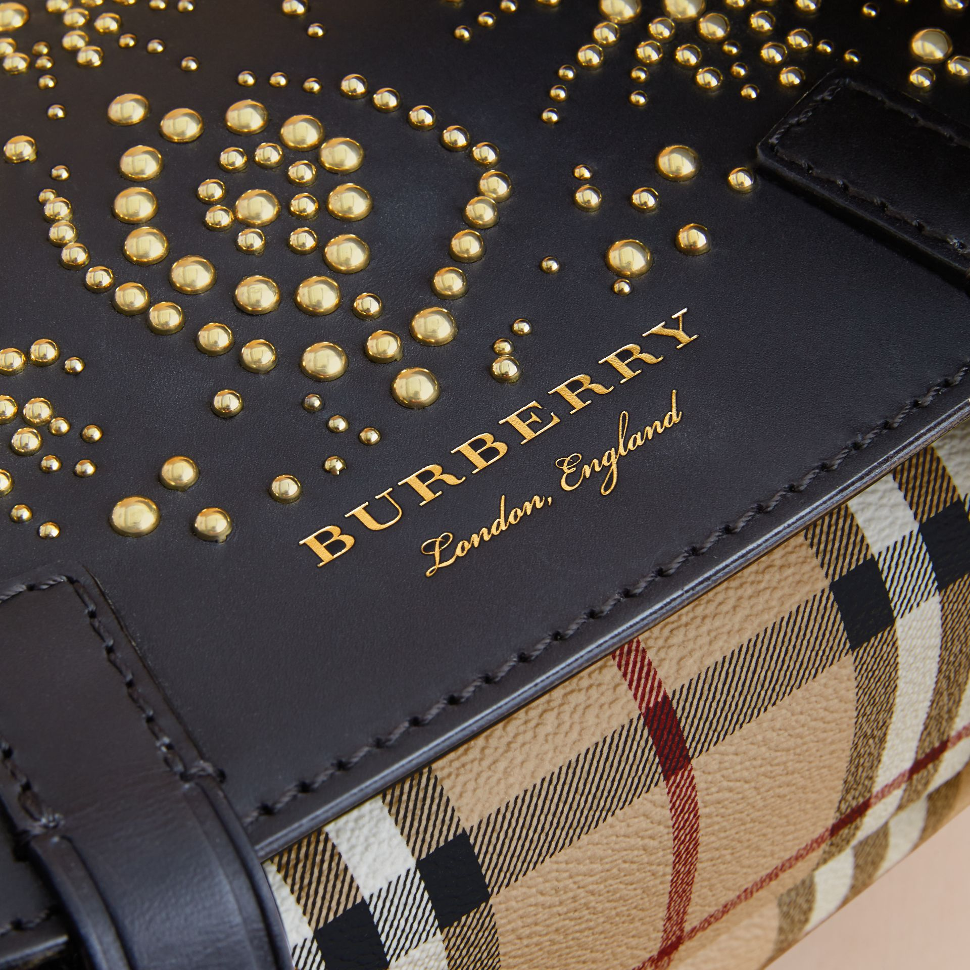 The Bridle Bag in Fruit and Flowers Riveted Leather in Black - Women | Burberry - gallery image 2