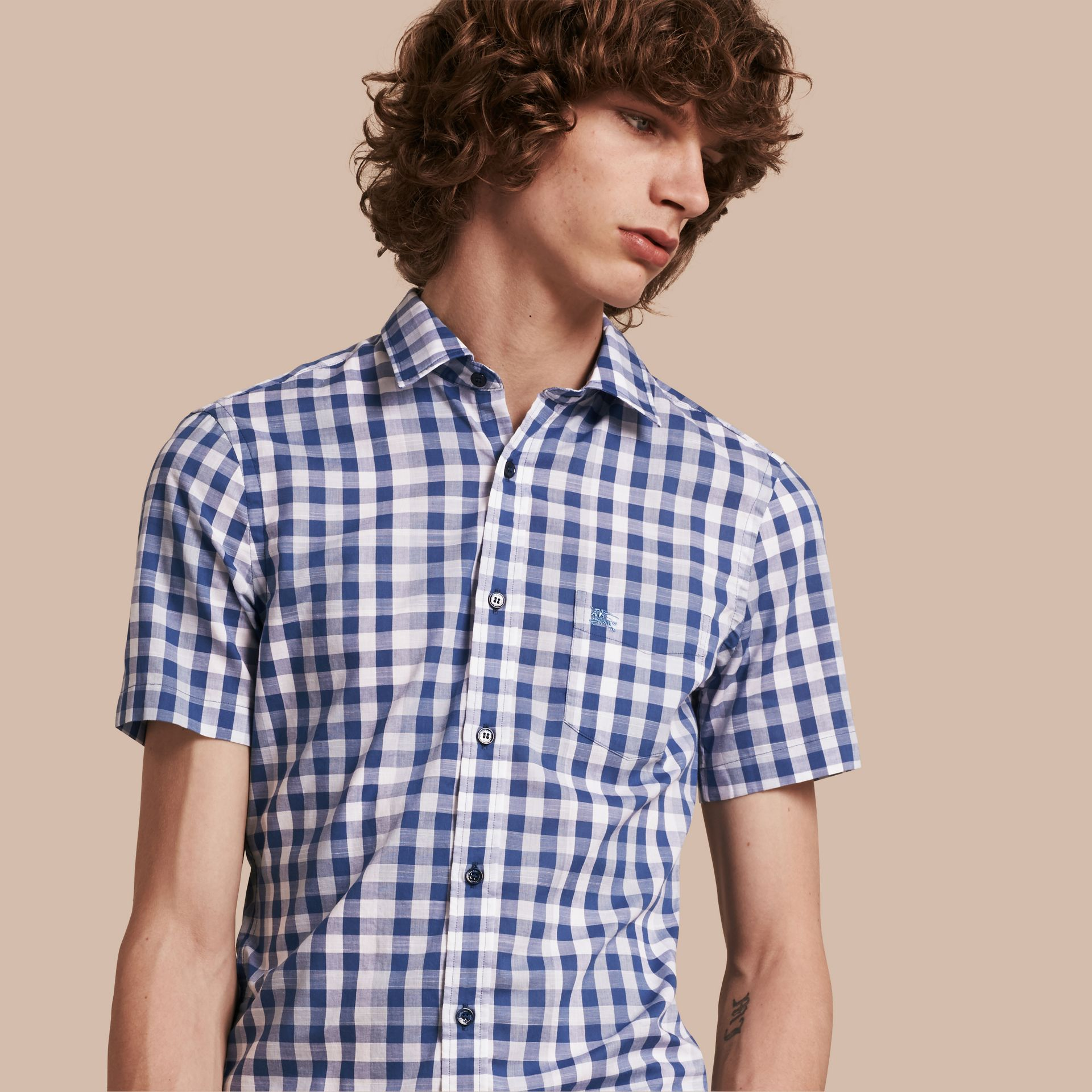 Bright steel blue Short-sleeved Gingham Cotton Shirt Bright Steel Blue - gallery image 1