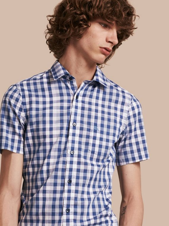 Short-sleeved Gingham Cotton Shirt Bright Steel Blue