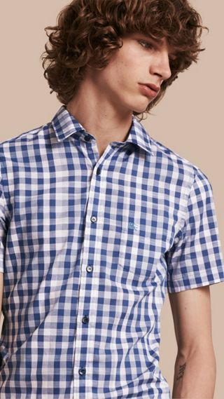 Short-sleeved Gingham Cotton Shirt