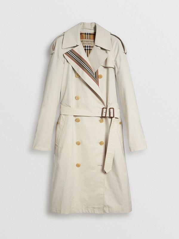 Striped Ribbon Cotton Gabardine Trench Coat in Stone - Women | Burberry United States - cell image 3
