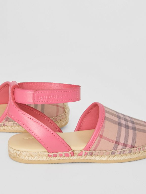 Check and Leather Espadrille Sandals in Bright Rose | Burberry - cell image 1