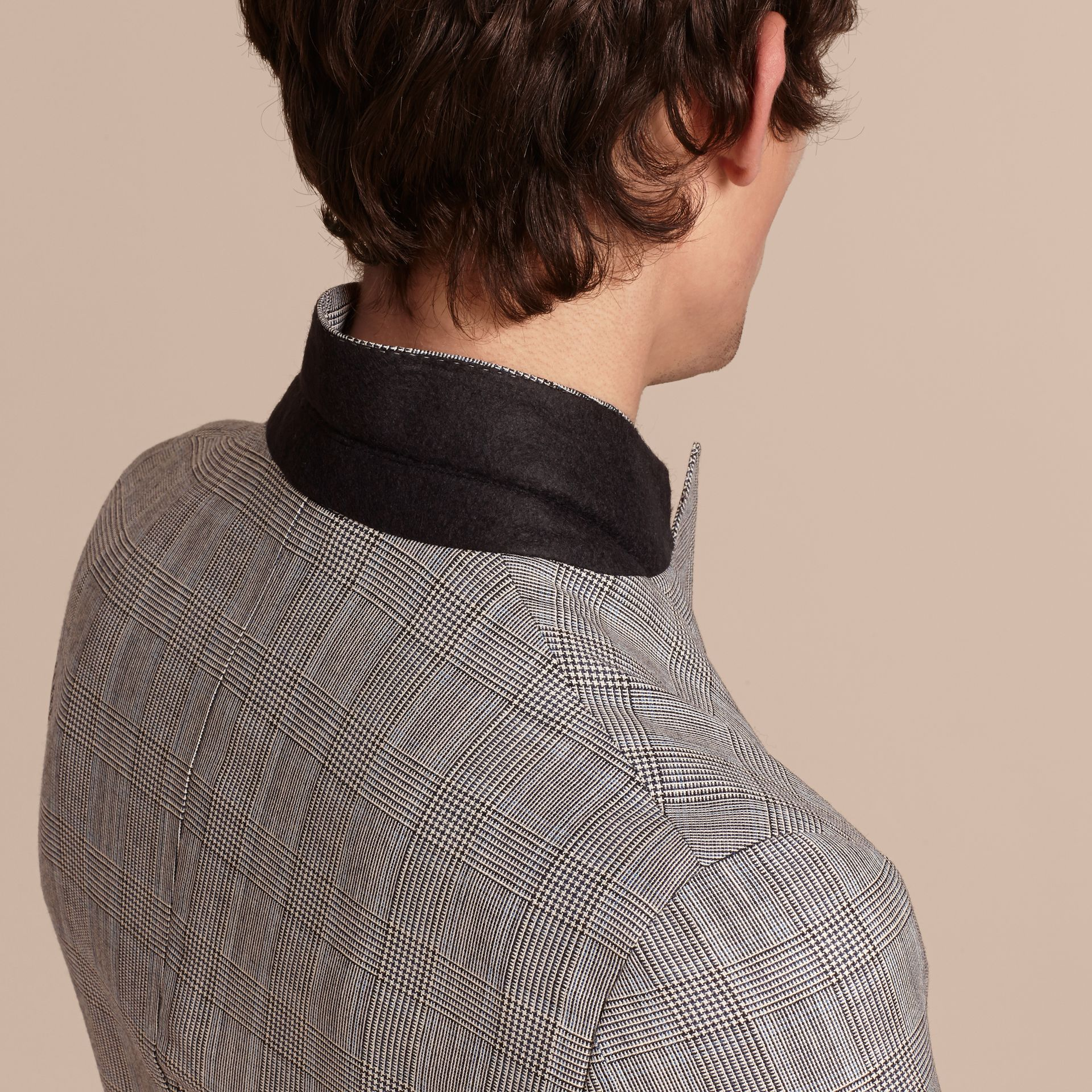 Pale grey Slim Fit Prince of Wales Check Wool Half-canvas Suit - gallery image 7