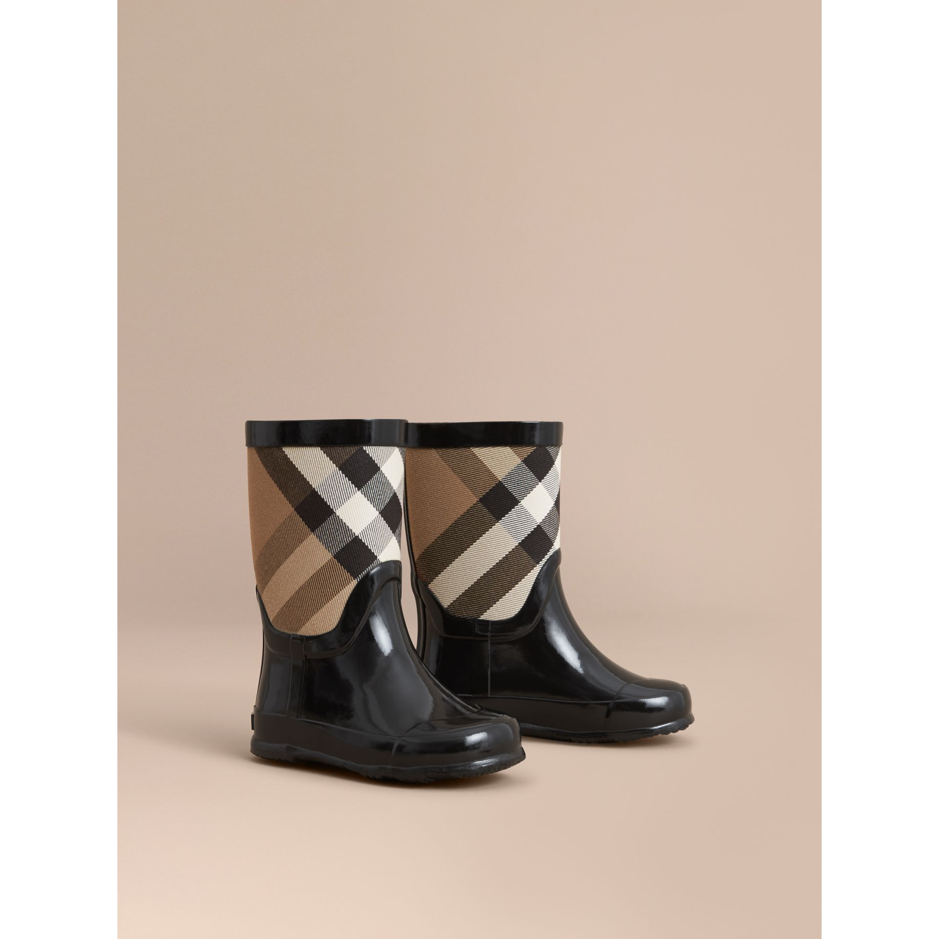 House Check Panel Rain Boots in Black | Burberry - gallery image 1