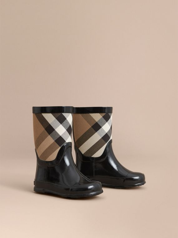 House Check Panel Rain Boots in Black