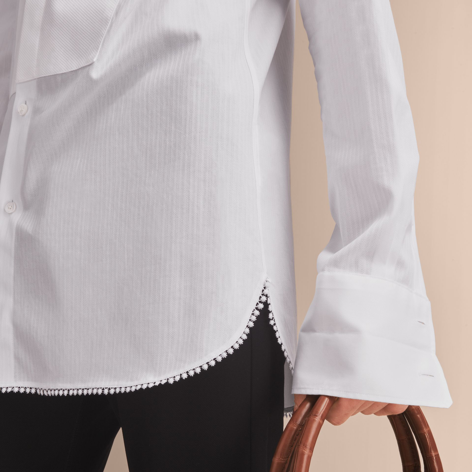 Macramé Trim Cotton Evening Shirt in White - Men | Burberry - gallery image 5