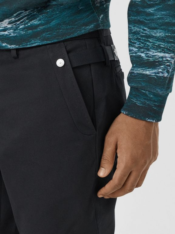 Classic Fit Cotton Chinos in Black - Men | Burberry - cell image 1