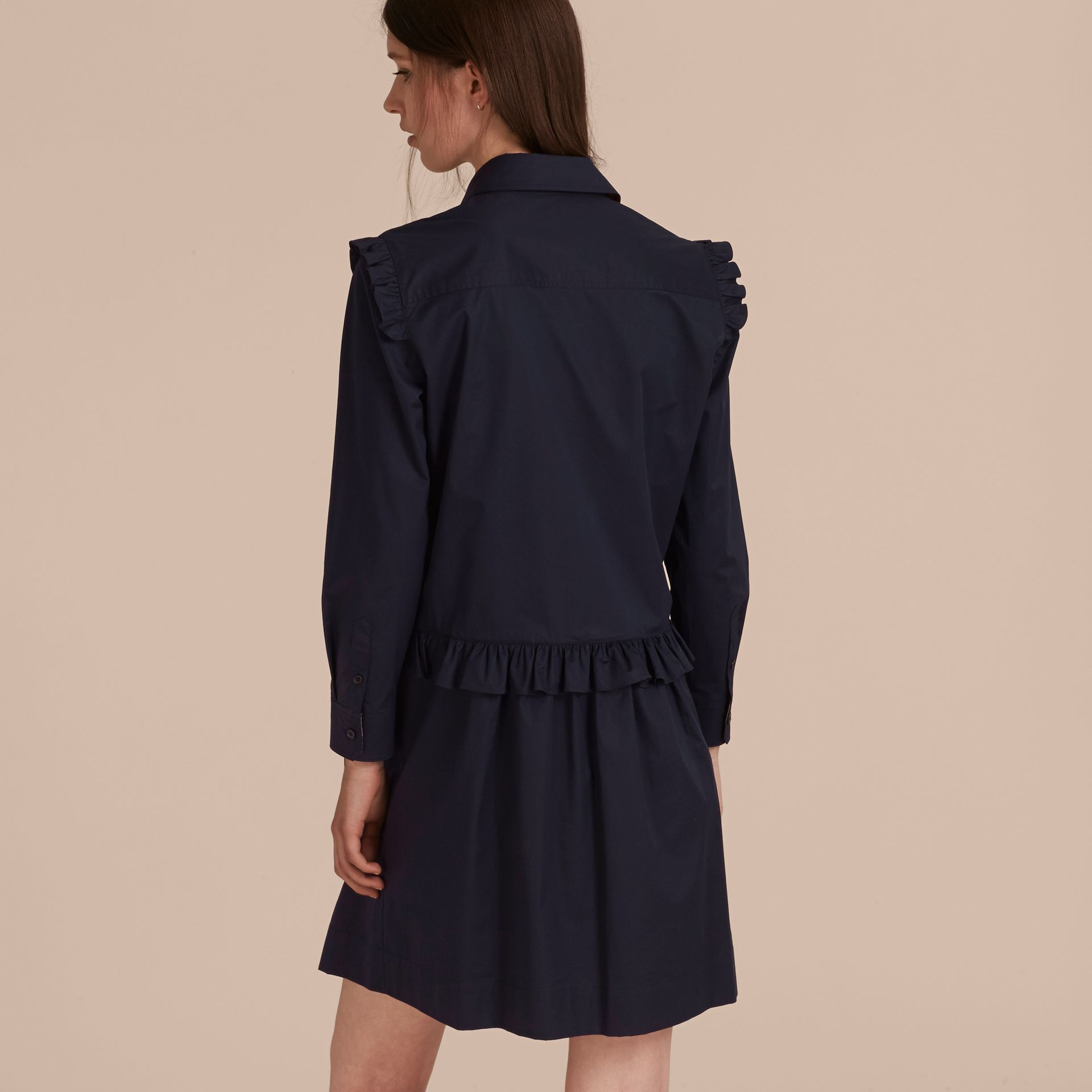 Ruffle and Check Detail Cotton Shirt Dress Navy - gallery image 3