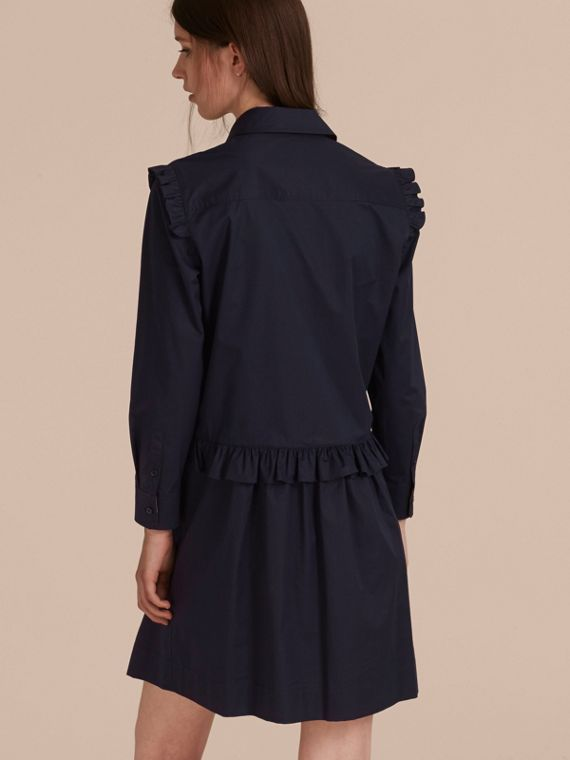 Ruffle and Check Detail Cotton Shirt Dress Navy - cell image 2