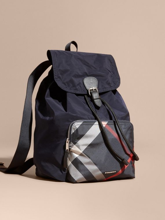 Check Detail Technical Packaway Rucksack Navy