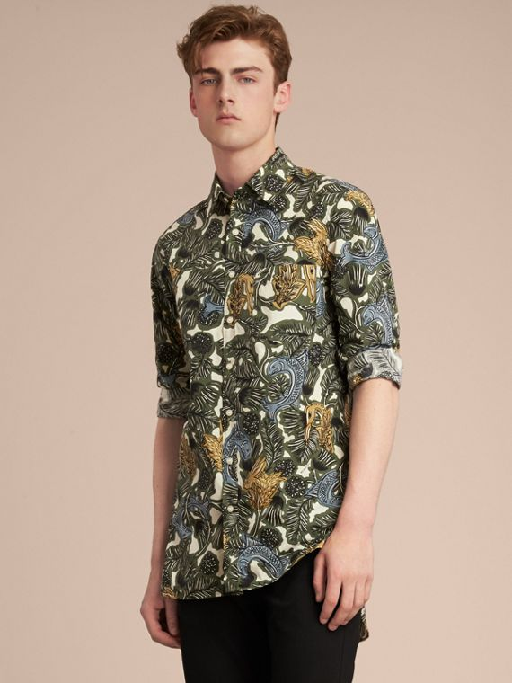 Beasts Print Cotton Poplin Longline Shirt in Sage Green