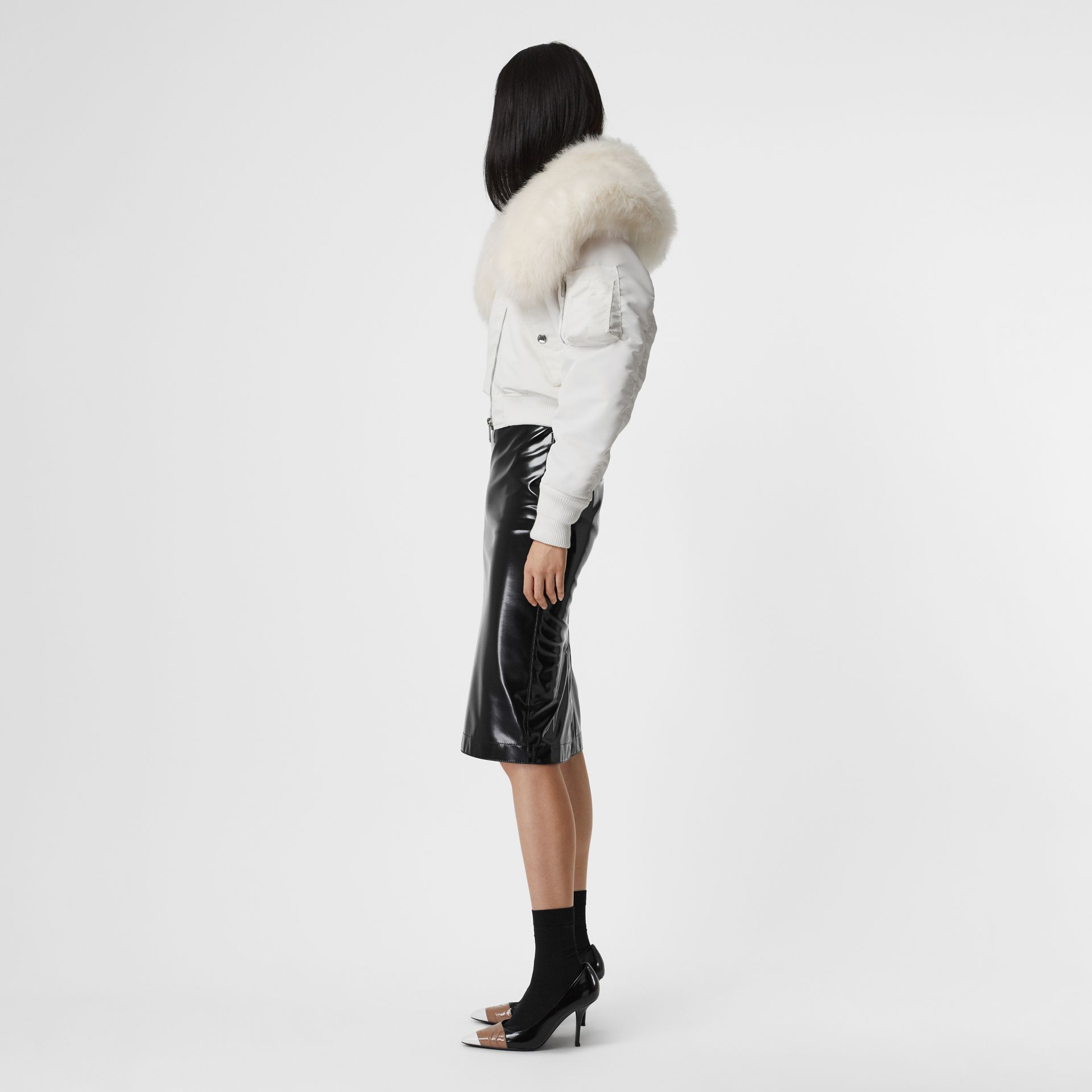 Faux Fur Collar Nylon Bomber Jacket in White - Women | Burberry - gallery image 4