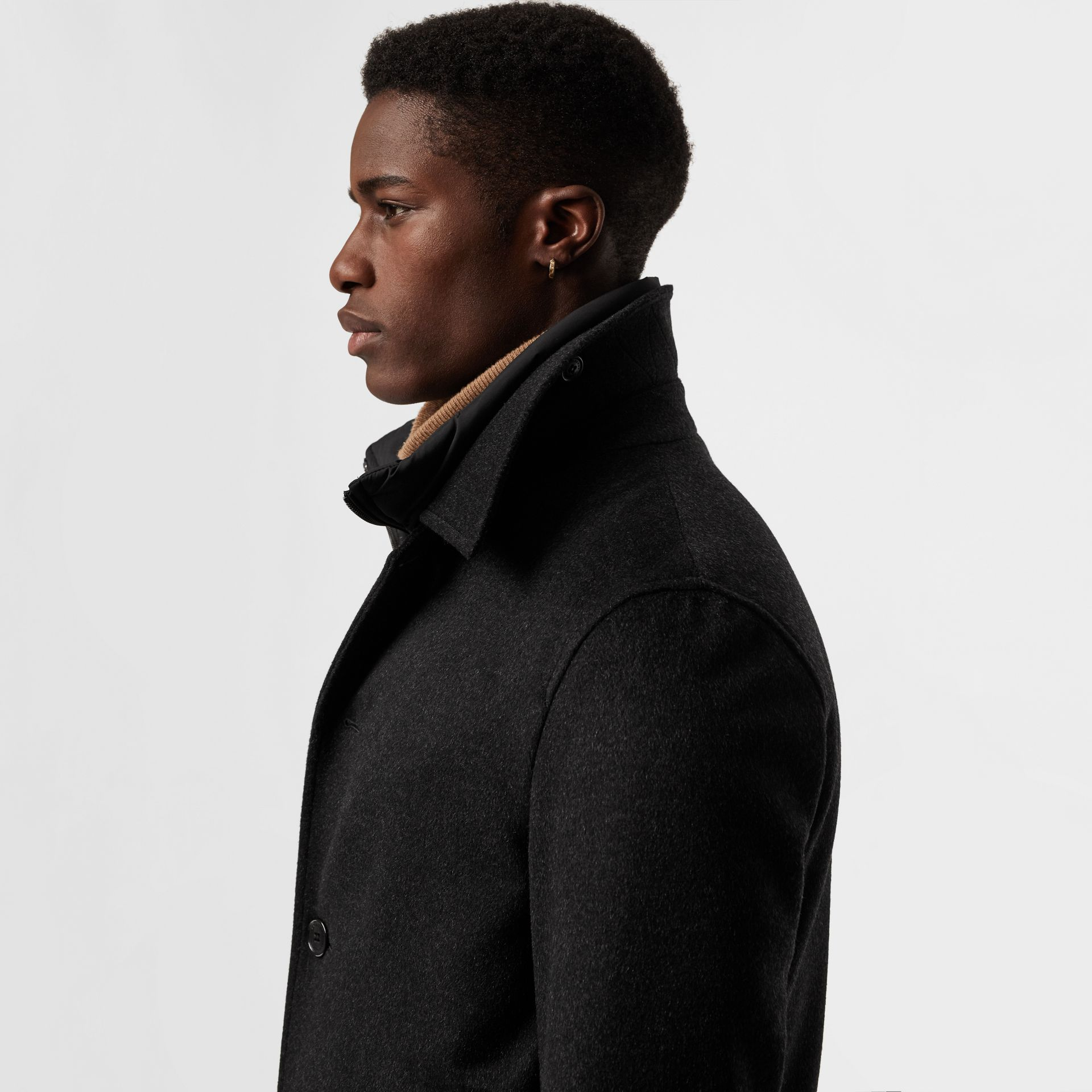 Wool Cashmere Car Coat with Detachable Gilet in Dark Grey Melange - Men | Burberry - gallery image 1