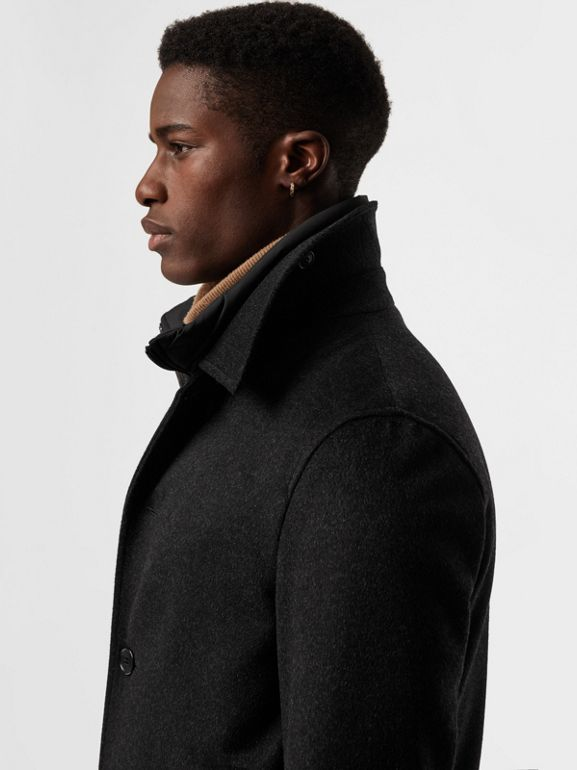 Wool Cashmere Car Coat with Detachable Gilet in Dark Grey Melange - Men | Burberry - cell image 1