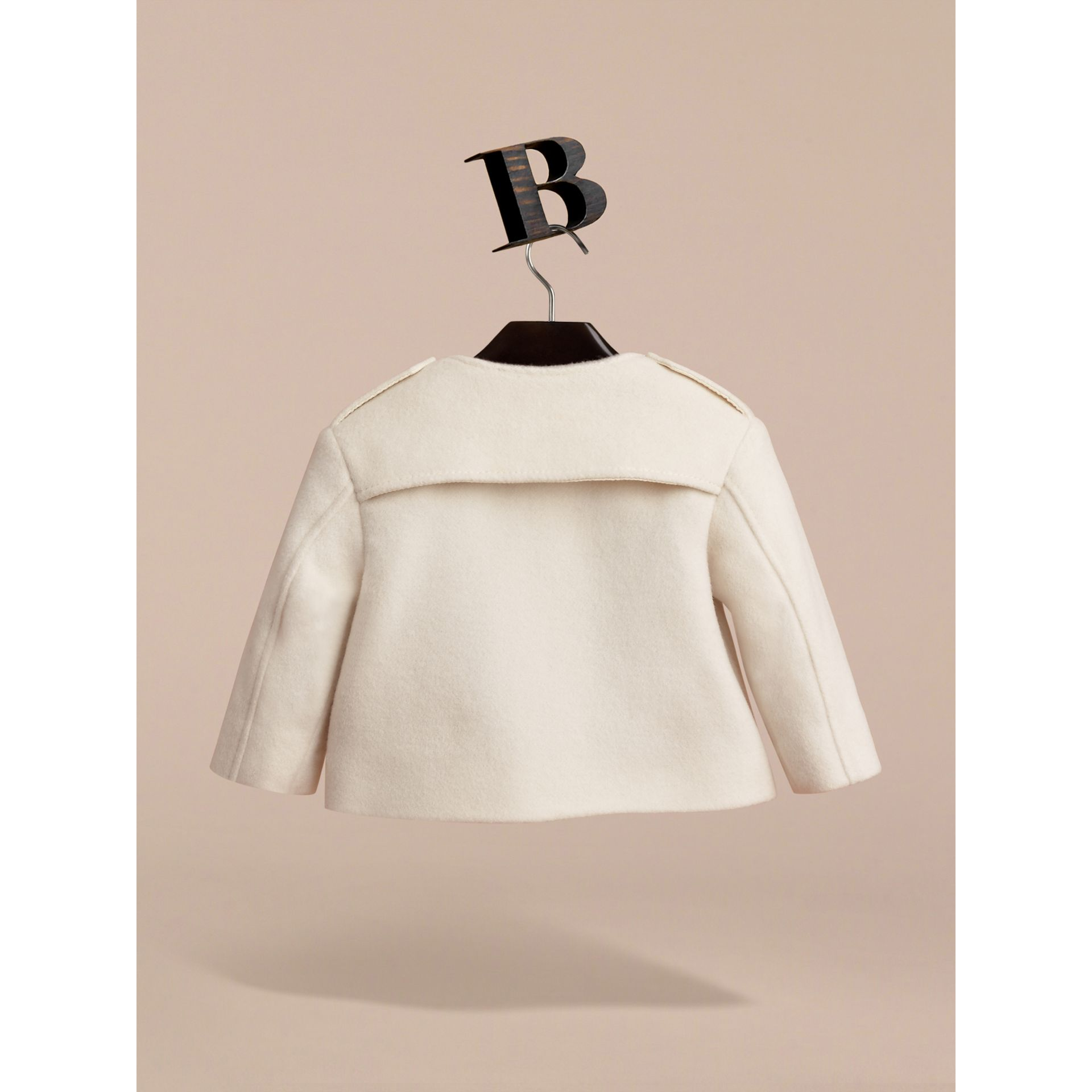 Collarless Cotton Cashmere Jacket in White | Burberry - gallery image 4
