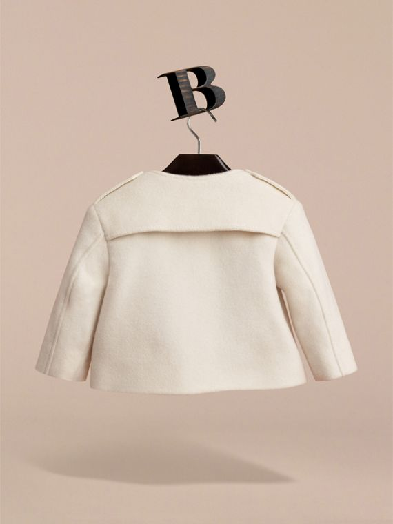 Collarless Cotton Cashmere Jacket in White | Burberry - cell image 3