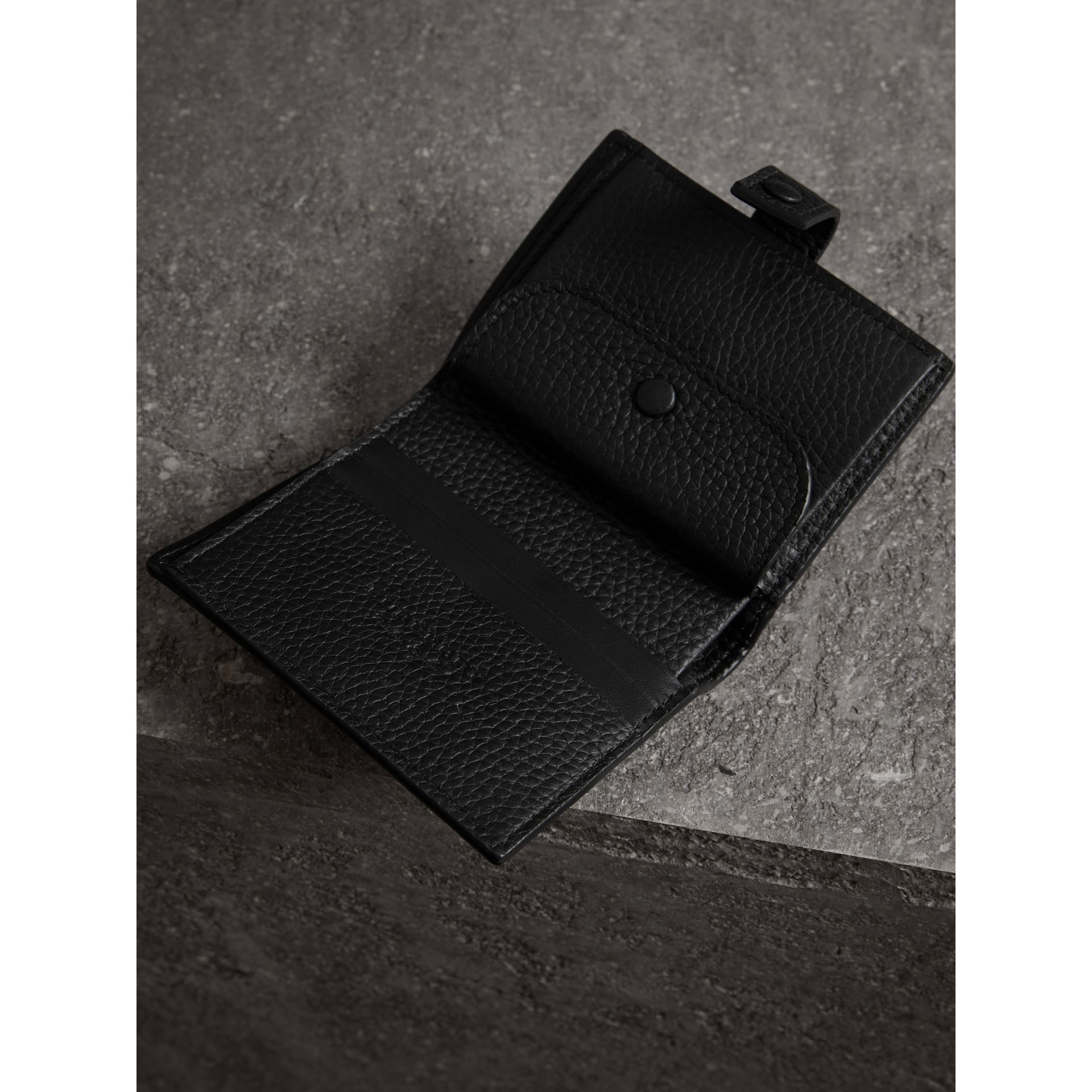 Embossed Leather Folding Wallet in Black - Women | Burberry - gallery image 3