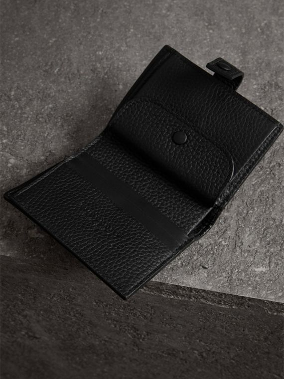 Embossed Leather Folding Wallet in Black - Women | Burberry Australia - cell image 3