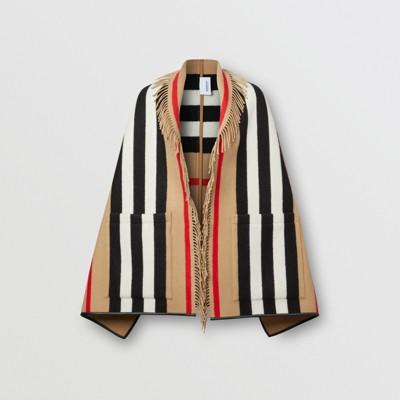 Mantella in lana e cashmere jacquard con iconico motivo a righe (Beige Archivio) Donna | Burberry