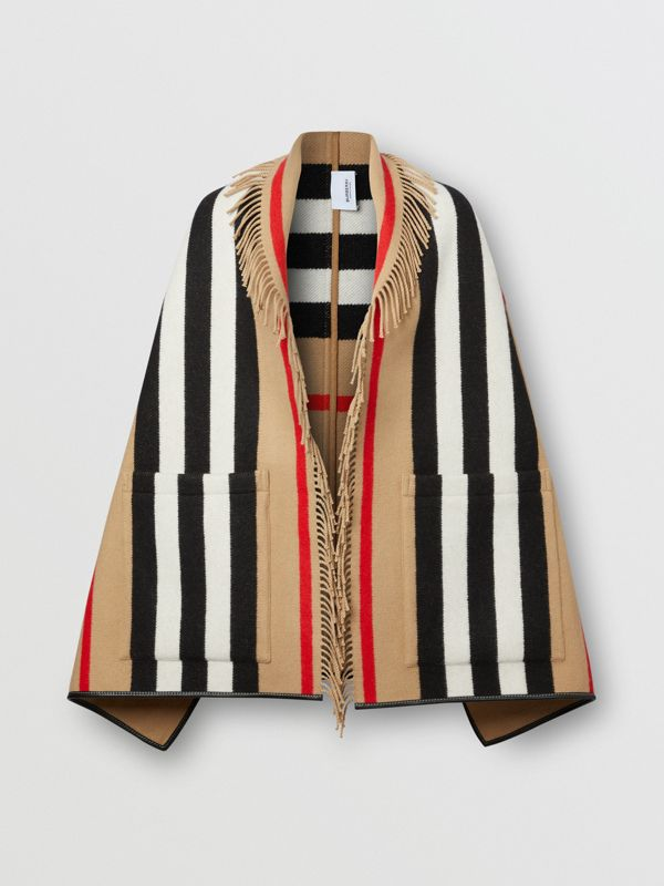 Icon Stripe Wool Cashmere Jacquard Cape in Archive Beige - Women | Burberry - cell image 3