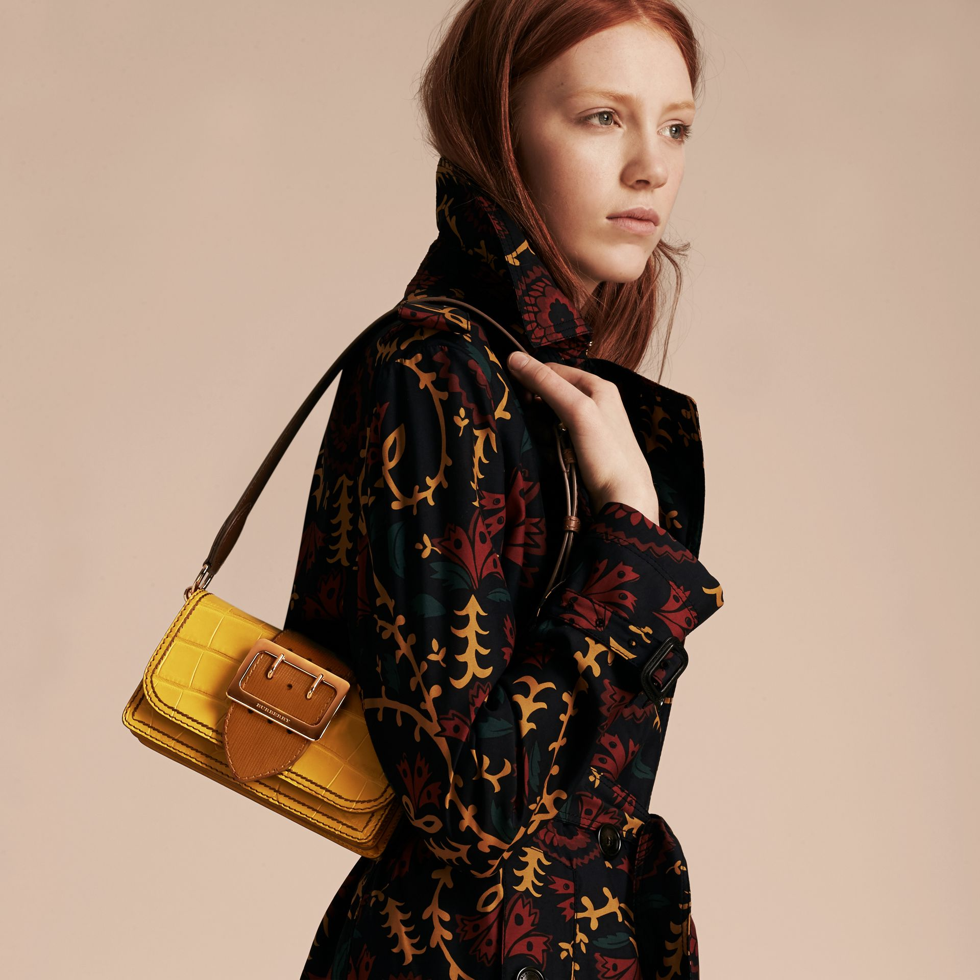 The Small Buckle Bag in Alligator and Leather Citrus Yellow / Tan - gallery image 3