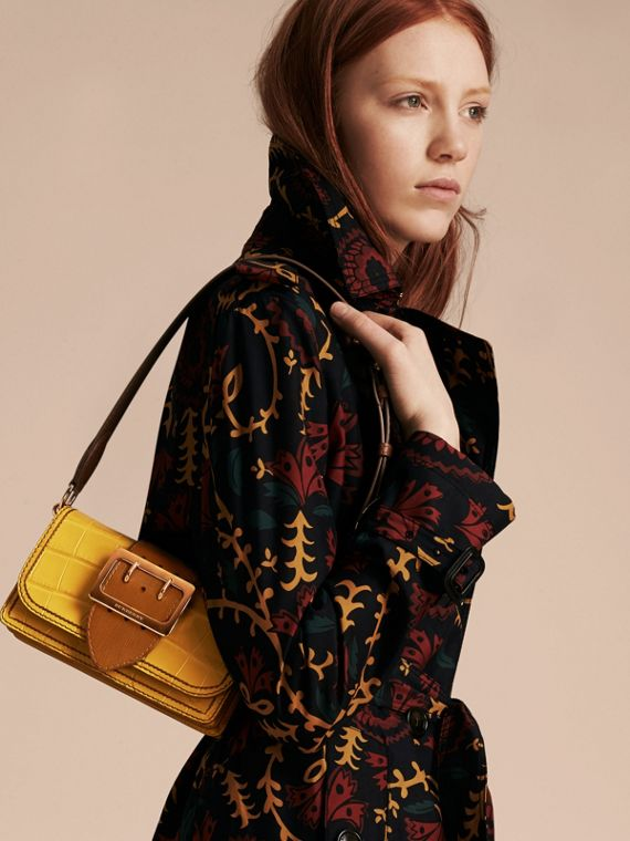 The Small Buckle Bag in Alligator and Leather Citrus Yellow / Tan - cell image 2