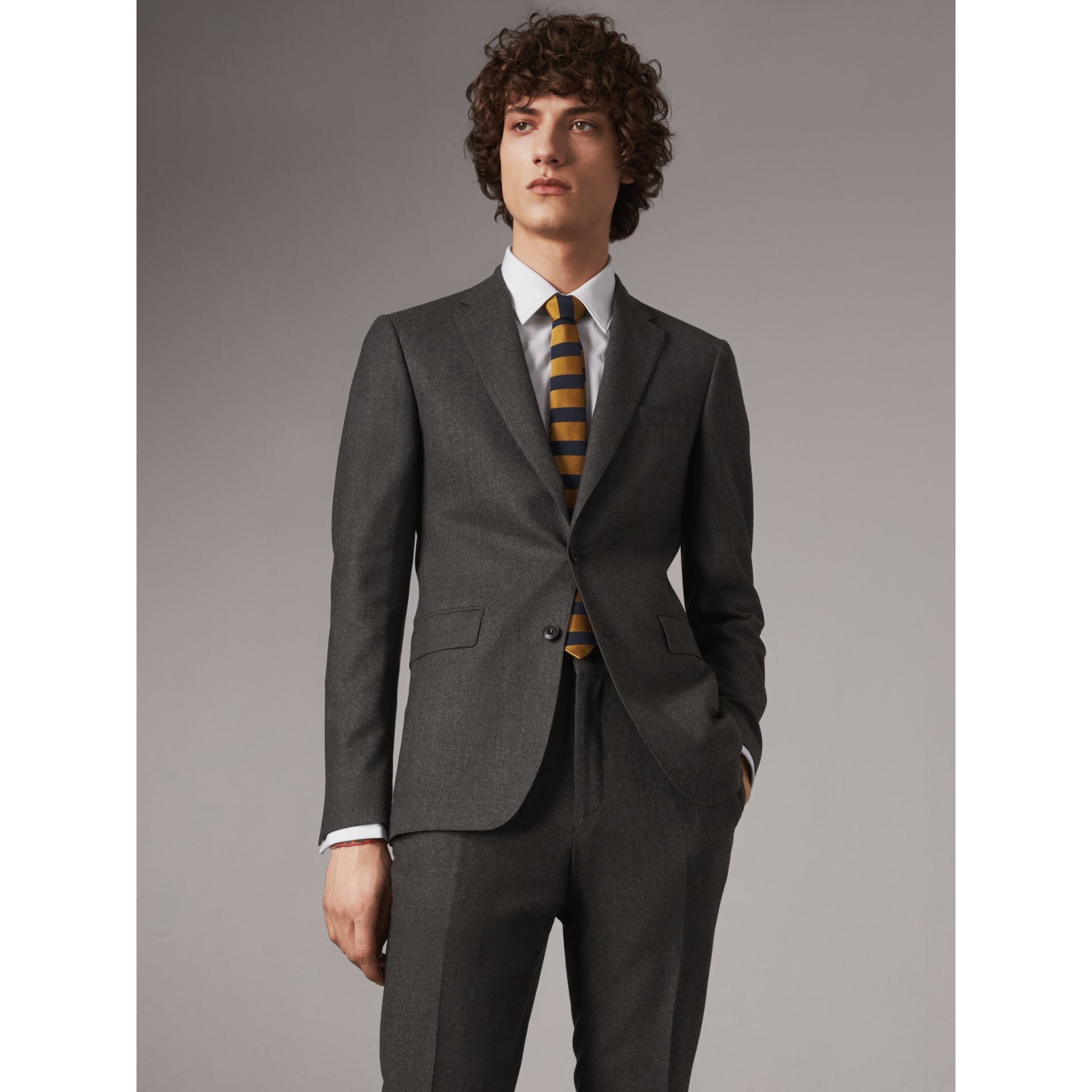 Slim Cut Striped Silk Wool Tie in Amber Yellow - Men | Burberry - gallery image 3