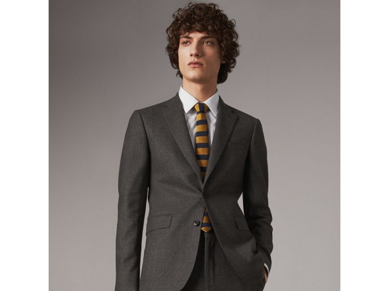 Slim Cut Striped Silk Wool Tie in Amber Yellow - Men | Burberry - cell image 2