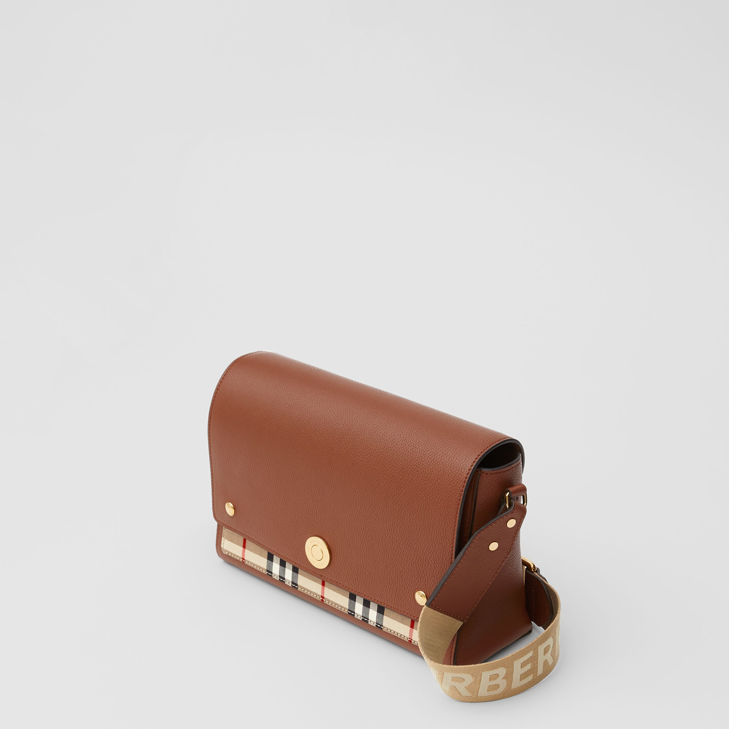 Leather and Vintage Check Note Crossbody Bag in Tan | Burberry - 4